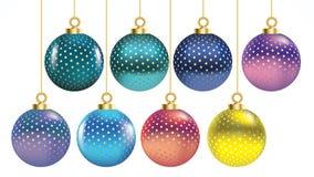 Ajuste das bolas coloridas do Natal do vetor com ornamento decorações realísticas isoladas coleção Ilustração do vetor no CCB bra ilustração do vetor