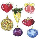 Ajuste das bolas decorativas do Natal esboço da aquarela e da tinta ilustração do vetor