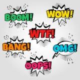 Ajuste das bolhas do discurso com emoções e crescimento diferentes, wow, Wtf, golpe, Oops palavras Ilustração do vetor ilustração stock