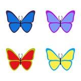 Ajuste das borboletas coloridas no fundo branco Ilustração do vetor EPS10 ilustração do vetor