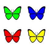 Ajuste das borboletas futuristas no fundo branco colorido Ilustração do vetor ilustração do vetor