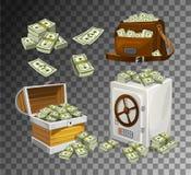 Ajuste das cédulas do dinheiro para os jogos, os cartazes, as bandeiras etc. Dinheiro do jogo no fundo transparente Caixa, saco e ilustração royalty free