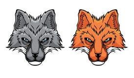 Ajuste das cabe?as da raposa ilustração royalty free