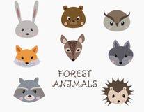 Ajuste das caras dos animais da floresta ilustração stock