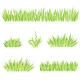 Ajuste das composições horizontais diferentes da grama Gramado isolado do jardim em um fundo branco ilustração stock
