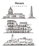 Ajuste das construções desenhados à mão de Havana Ilustração do vetor do esboço dos elementos de Havana ilustração stock