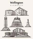 Ajuste das construções desenhados à mão de Wellington Ilustração do vetor do esboço dos elementos de Wellington ilustração royalty free