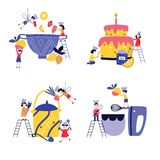 Ajuste das crianças pequenas que cozinham o bolo gigante e no estilo liso dos desenhos animados do utensílio enorme ilustração do vetor