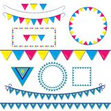 Ajuste das decorações com bandeiras e dos quadros, ilustração de grupos coloridos do feriado das crianças de bandeiras para decor ilustração royalty free