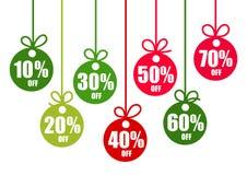 Ajuste das etiquetas do desconto 10,20,30,40,50,60,70 por cento fora na forma de bolas do Natal em cores tradicionais Feriado de  ilustração stock