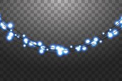 Ajuste das festões azuis, decorações festivas Luzes de Natal de incandescência isoladas no fundo transparente Luzes azuis ilustração do vetor
