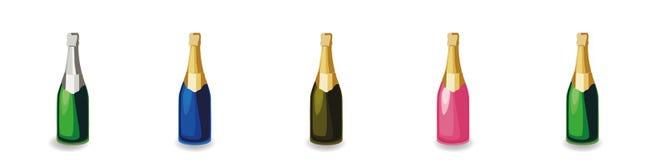 Ajuste das garrafas diferentes do champanhe ilustração do vetor
