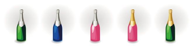 Ajuste das garrafas diferentes do champanhe ilustração royalty free