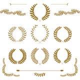 Ajuste das grinaldas e dos ramos do louro da concessão do ouro no fundo branco, ilustração do vetor ilustração royalty free