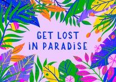 Ajuste das ilustrações do vetor do verão com folhas, as flores e elementos tropicais ilustração stock