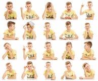 Ajuste das imagens emocionais de um menino do adolescente em um t-shirt amarelo, colagem Close-up, fundo branco foto de stock royalty free