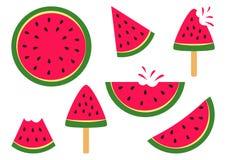 Ajuste das melancias maduras da fatia Vetor ilustração stock