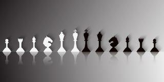 Ajuste das partes de xadrez brancas e pretas ilustração do vetor