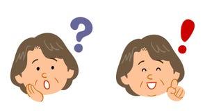 Ajuste das perguntas e resposta da mulher para a mulher de meia idade e idosa ilustração do vetor