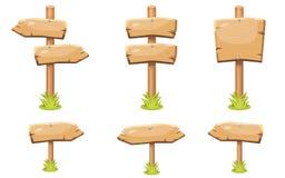 Ajuste das placas vazias de madeira velhas do sinal dos desenhos animados ilustração do vetor