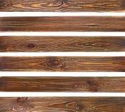 Ajuste das pranchas de madeira do grunge marrom velho imagens de stock