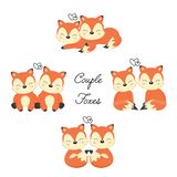 Ajuste das raposas bonitos dos pares no amor Animal da floresta no estilo dos desenhos animados ilustração do vetor