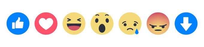 Ajuste das reações compreensivo de Facebook Emoji ilustração stock