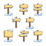 Ajuste das setas de madeira em um fundo branco ilustração stock