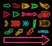 Ajuste das setas e dos ponteiros de néon coloridos, ilustração do vetor ilustração do vetor
