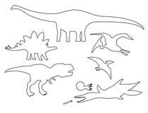 Ajuste das silhuetas do esboço diferente dos dinossauros ilustração royalty free