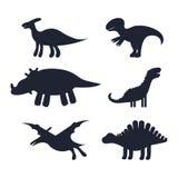 Ajuste das silhuetas pretas de dinossauros bonitos das crianças ilustração do vetor