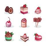 Ajuste das sobremesas doces deliciosas feitas do chocolate, da morango e do fruto da floresta ilustração do vetor