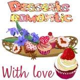 Ajuste das sobremesas dos corações em uma bandeja ilustração royalty free