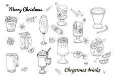 Ajuste das várias sobremesas e bebidas tradicionais do inverno Molde para a estação e o projeto do Natal, cartões, convites e ilustração do vetor