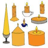 Ajuste das velas desenhados à mão simples ilustração royalty free