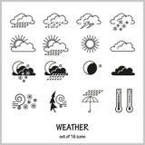 Ajuste de 16 ícones que descrevem condições meteorológicas Tempo da chuva, da neve, da saraiva, do relâmpago, do vento, o solar o ilustração royalty free