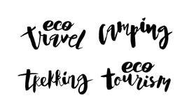 Ajuste de acampamento Trekking de rotulação escrito à mão do curso de Eco Turism ilustração royalty free