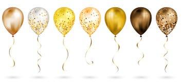 Ajuste de 7 bal?es real?sticos do h?lio 3D do ouro brilhante para seu projeto Bal?es lustrosos com brilho e fita do ouro, decora? ilustração royalty free