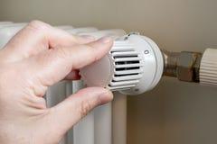 Ajuste de calefacción de la temperatura del radiador imagen de archivo