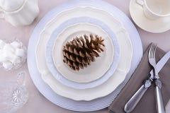 Ajuste de cena formal elegante de la tabla de la acción de gracias Fotografía de archivo libre de regalías