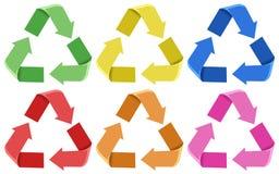 Ajuste de colorido reciclam ícones ilustração do vetor