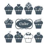 Ajuste de dez queques: bagas, coração, chocolate,   Imagem de Stock