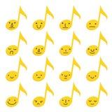 Ajuste de dezesseis notas musicais amarelas com expressões do emoji na foto de stock royalty free