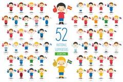 Ajuste de 52 fãs nacionais da equipe de esporte da ilustração do vetor dos países europeus ilustração royalty free