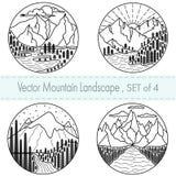 Ajuste de 4 ilustrações preto e branco tiradas mão Paisagens da montanha com floresta, nuvens e rio ilustração royalty free