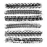 Ajuste de 6 impressões realísticas da trilha do pneu de borracha imagem de stock royalty free