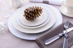 Ajuste de jantar formal elegante da tabela da ação de graças Imagens de Stock