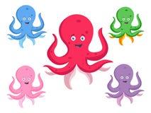 Ajuste de Jelly Cartoon Fishes Illustration bonito ilustração do vetor