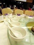 Ajuste de la cena del cuenco en cena de boda de China Imagenes de archivo