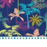 Ajuste de la frontera del Pompom del vector en las palmeras geométricas coloridas azul marino stock de ilustración
